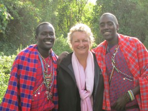 Glenda posing with 2 people from Kenya