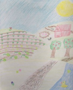 Child's drawing of a sun, house & apple trees
