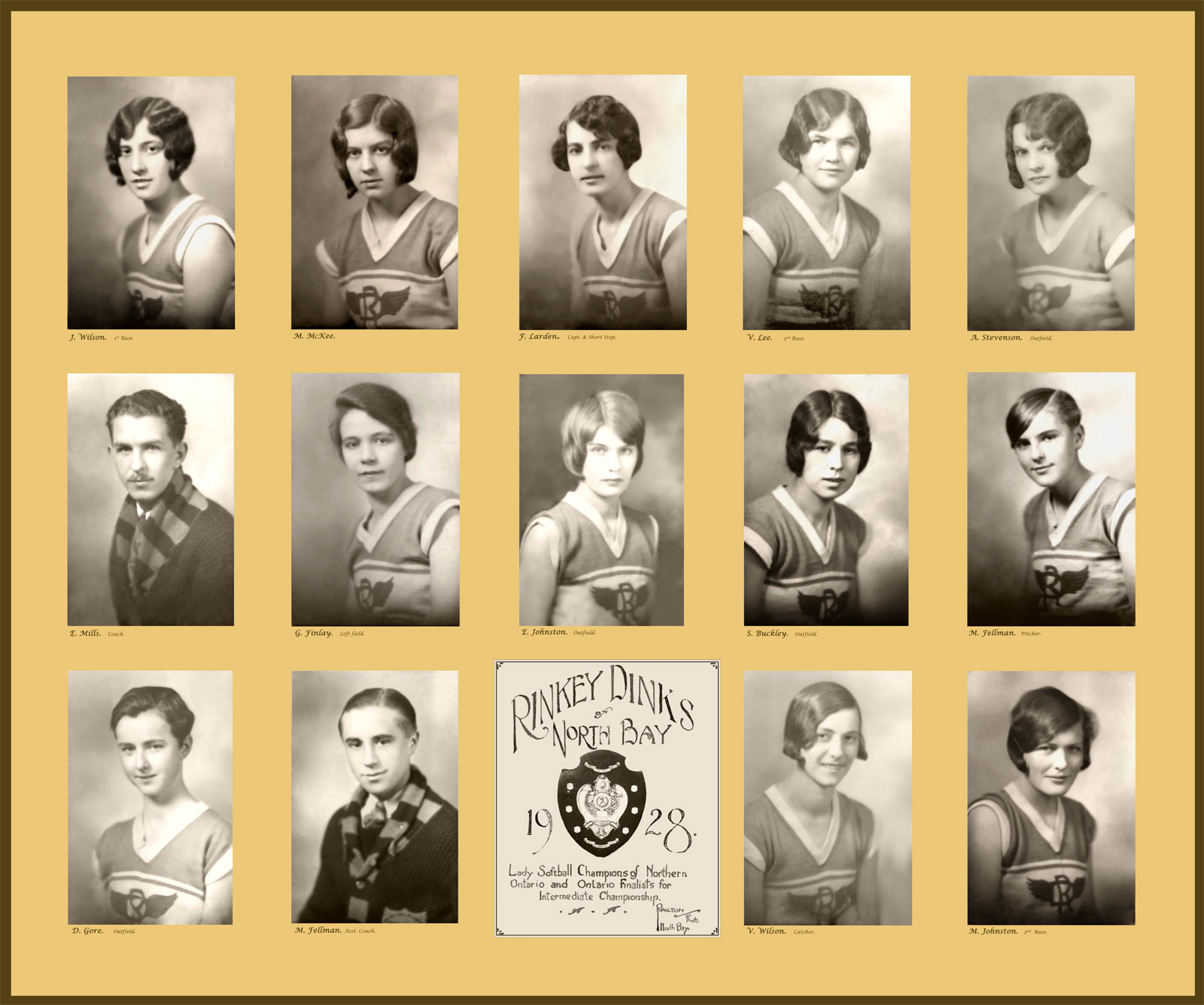 Rinkey Dinks of North Bay 1928 Lady Softball Champions of Northern Ontario and Ontario Finalists for Intermediate Championship.